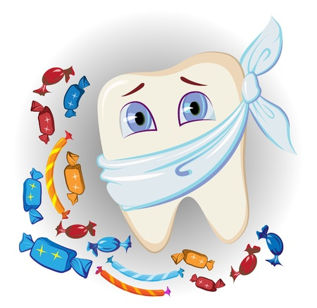 tooth pain: painful tooth and sweets Illustration