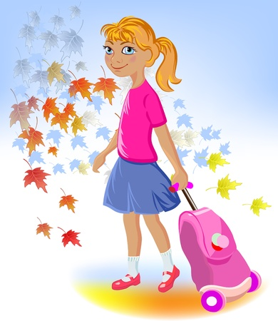 carry: school girl with bag,back to school  Illustration