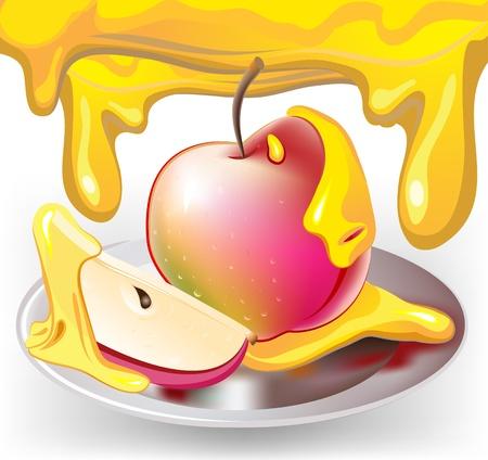 apple with honey Stock Vector - 10472855
