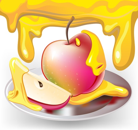 jewish new year: apple with honey Illustration