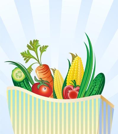 grocery: set of fresh vegetables in package