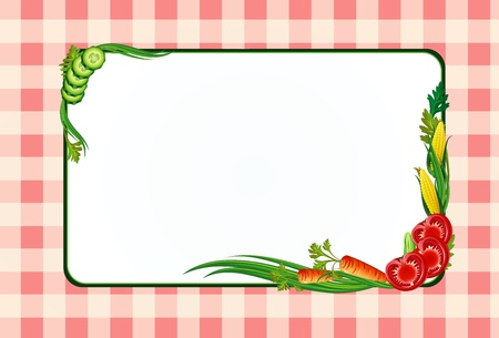 decorative diet frame with vegetables and tablecloth