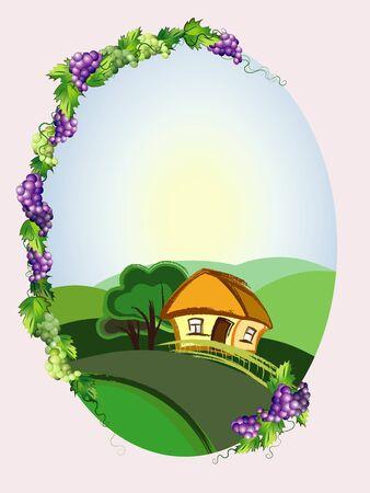 포도 수확: 포도와 풍경 다이어트 프레임 일러스트