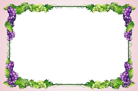 decorative diet frame with grapes Illustration