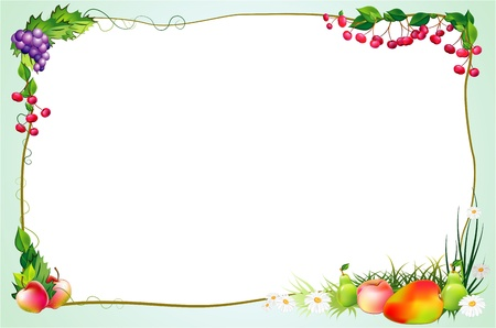 diet frame with fruits and flowers Ilustrace