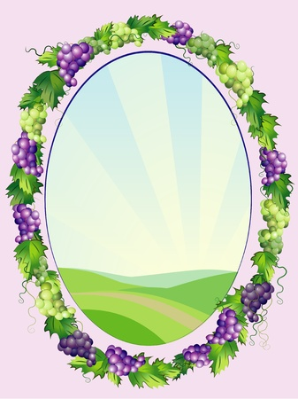 oval  alcohol: decorative oval grapes frame Illustration