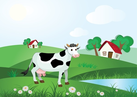 cow illustration: Cow on meadow with farm house and trees