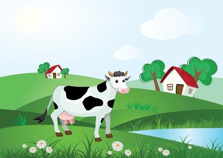 milchkuh: Kuh auf Wiese mit Bauernhaus und B�ume