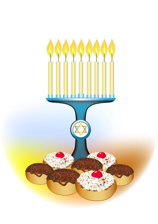alight: chanukah candles with jewish traditional cakes