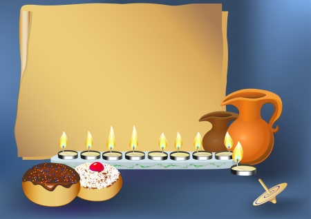judaica: chanukah candles on with jewish traditional cakes