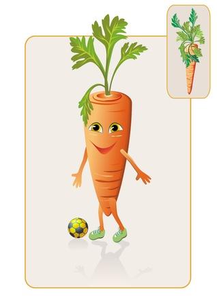 zanahoria caricatura: zanahoria divertida y realista juego de fútbol Vectores