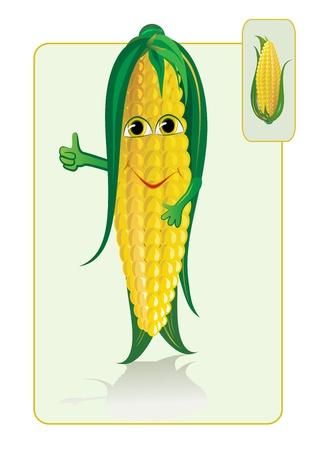 planta de maiz: ma�z divertido y realista Vectores