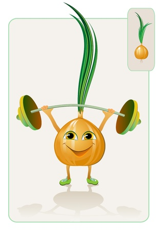 funny and realistic onion raising the bar Illustration