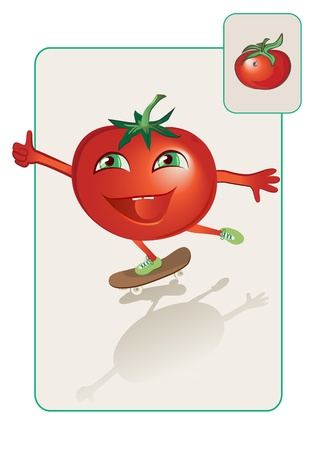 children eating fruit: funny and realistic tomato on skateboard