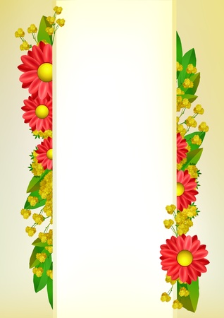 mimosa: red flower background frame with place for text Illustration