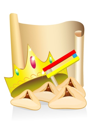 purim: purim cakes and crown with place for text Illustration