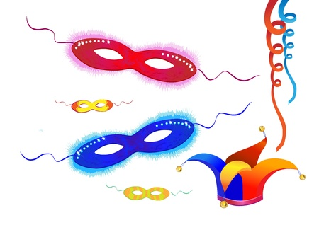 masks and clown hat Vector