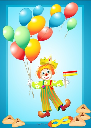 purim carnival party: funny clown wiht purim elements Illustration