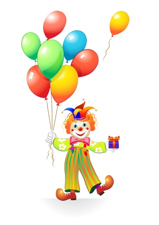 funny clown with ballons 일러스트