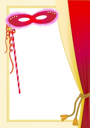carnival mask and curtain Vector
