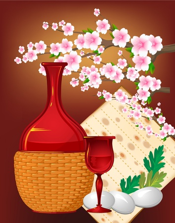 Jewish celebrate pesach passover with eggs, matzo and flowers  Illustration