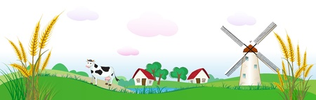 agriculture backdrop with houses, cow and wheat Vector