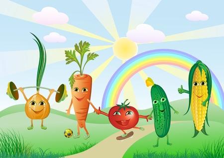 pepino caricatura: las verduras divertidas en sol y arco iris de fondo