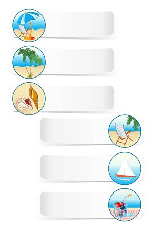 collection of summer vacation sea theme  icons Vector