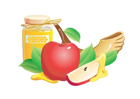 honey, apple, pomegranate and horn Illustration