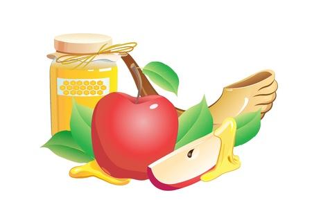 holydays: honey, apple, pomegranate and horn Illustration