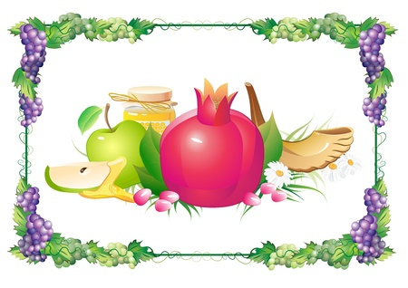 rosh: rosh hashana traditional holiday still life, apple, honey and shofar Illustration