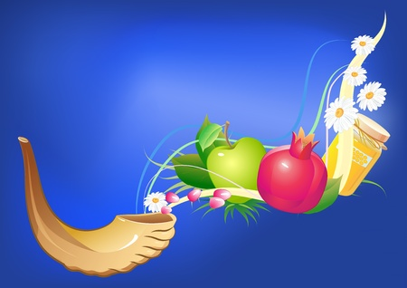 shofar: rosh hashana traditional holiday still life, apple, honey and shofar Illustration