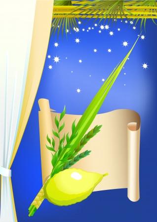 dattelpalme: Gl�ckliche Sukkot mit Palmen, Sterne und Vorhang Illustration