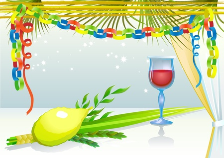 Happy Sukkot with glass of wine Vector