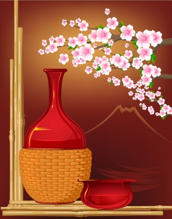 japanese sake: japan estilo tradicional con sake, flores, bambú