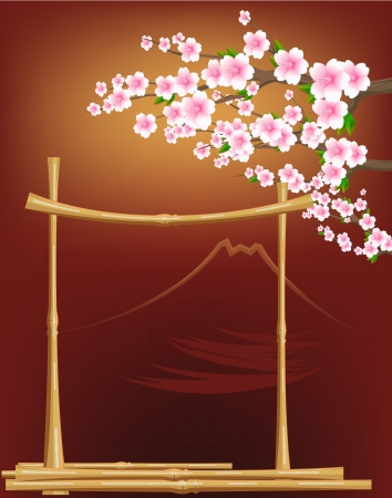 camellia: japan tradition style with flowers,bamboo and fuji mountain Illustration