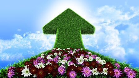 overgrown: arrow from grass way, with flowers and sky, ecologic symbol Stock Photo