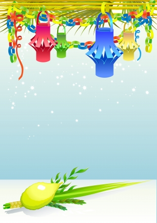 Happy Sukkot with decorative elements Vector