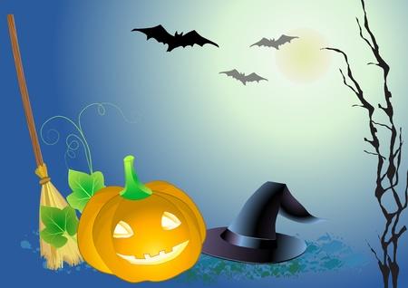 haloween: haloween fondo decorativo celebran con el sombrero de magia, la calabaza y la escoba