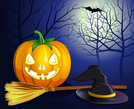 haloween: decorative halloween celebrate background with magic hat,pumpkin and broom