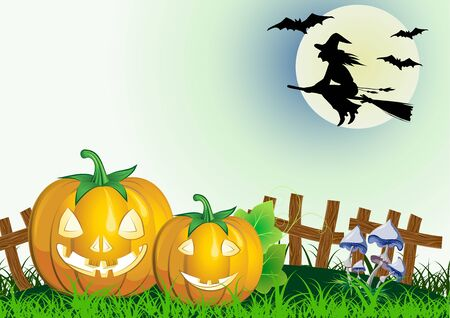 decorative halloween celebrate background with magic hat,pumpkin and broom and flying whitch Vector