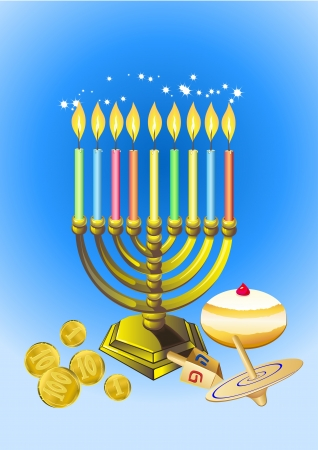 hanukkah background with candles, donuts, oil pitcher and spinning top Ilustrace