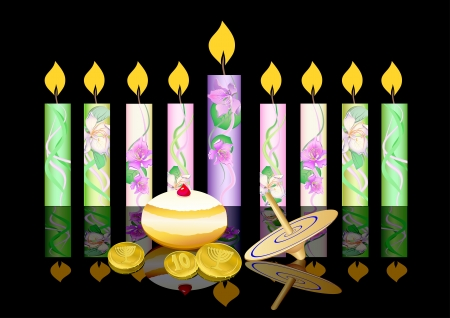 jewish faith: hanukkah background with candles, donuts, oil pitcher and spinning top Illustration