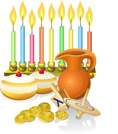hanukkah background with candles, donuts, oil pitcher and spinning top Vector