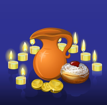 hanukkah background with candles, donuts, oil pitcher and coins