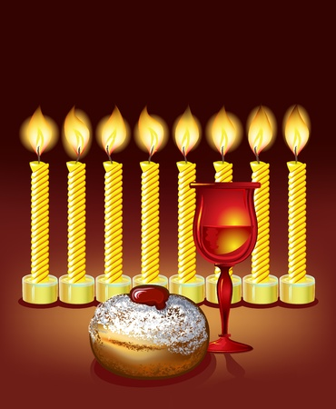 hanukkah background with candles, donuts, and wine glass Vector