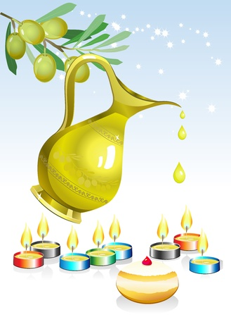 hasidic: hanukkah background with candles, oil and olive tree