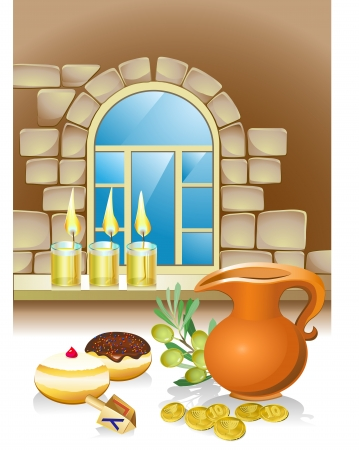 jewish houses: hanuka still life background with candles, donuts and window Illustration