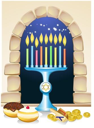 celebrate life: hanuka bodeg�n fondo con velas, rosquillas y ventana