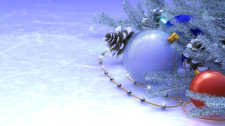 Happy New Year and Merry Christmas background with ice and decorations photo